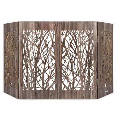Decorative Freestanding Pet Gate, Barnwood Branches