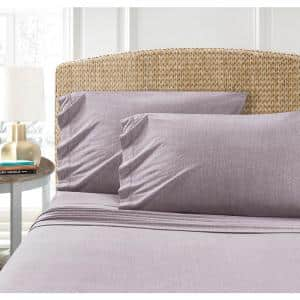 Cotton Blend Purple T-Shirt Jersey Sheet 2PK Pillowcase Set
