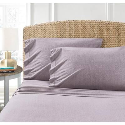 Cotton Blend Purple T-Shirt Jersey Sheet 2PK Pillowcase Set