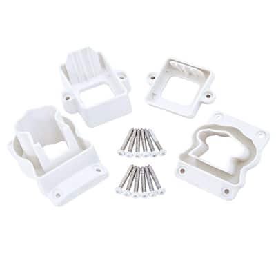 ArmorGuard Deluxe White Plastic Stair Rail Hardware Kit