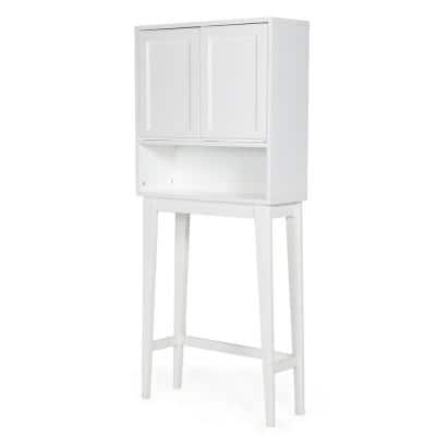 28 in. x 24 in. x 10 in. Draper Ready to Assemble White Mid Century Space Saver Cabinet