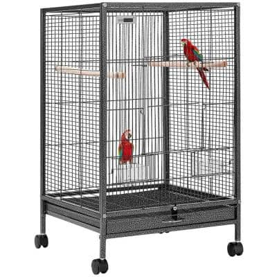 30 in. H Wrought Iron Bird Cage with Rolling Stand for Parrots Conure Lovebird Cockatiel