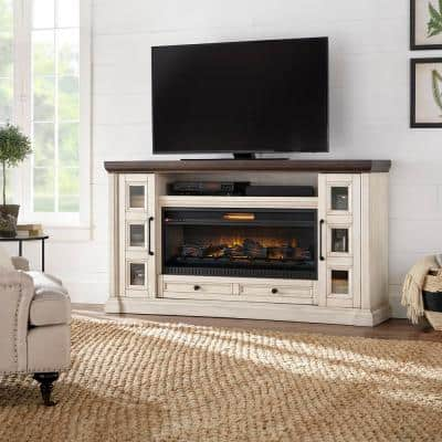 Cecily 72 in. Freestanding Electric Fireplace TV Stand in Antique White with Warm Charcoal Top Finish