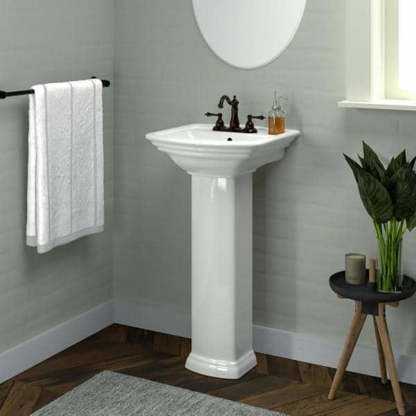 Washington 460 18 In Pedestal Combo Bathroom Sink In White 3 384wh The Home Depot