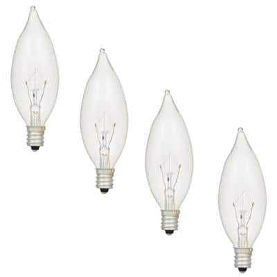 60 Watt Double Life B10 Incandescent Light Bulb in 2700K Soft White Color Temperature (4-Pack)