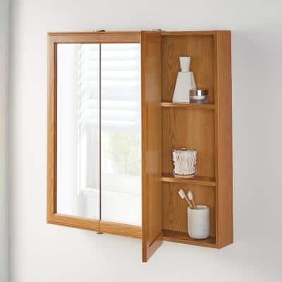 30-1/4 in. W x 29 in. H Fog Free Framed Surface-Mount Tri-View Bathroom Medicine Cabinet in Oak with Mirror