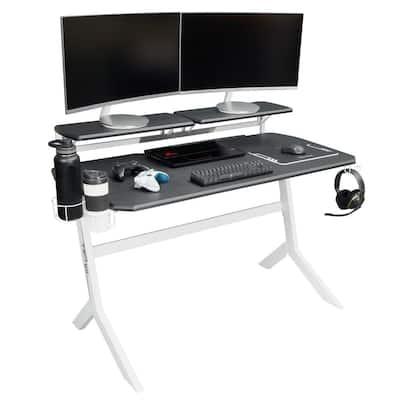 26 in. Rectangular Black/White Computer Desk with Adjustable Shelves