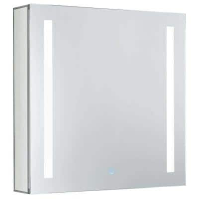24 in. x 24 in. Recessed or Surface Wall Mount Medicine Cabinet in Stainless Steel with LED Lighting Left Hinge