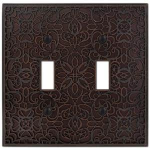 Momfort 2 Gang Toggle Metal Wall Plate - Aged Bronze