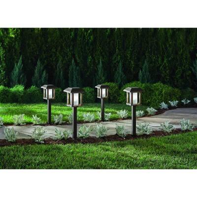 20 Lumens Solar 2-Tone Bronze and Wood LED Landscape Pathway Light Set with Vintage Bulb (4-Pack)