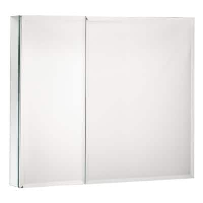30 in. W x 26 in. H Silver Wall Mount Frameless Medicine Cabinet with Mirror