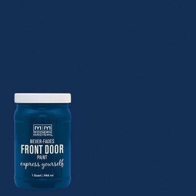 Express Yourself 1 qt. Satin Serene Blue Water-Based Front Door Paint