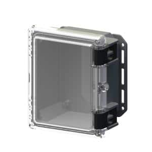 9.7 in. L x 8.2 in. W x 5.5 in. H Polycarbonate Clear Hinged Latch Top Cabinet Enclosure with Gray Bottom