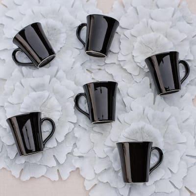 Coup 11.16 oz. Black Earthenware Mugs (Set of 6)