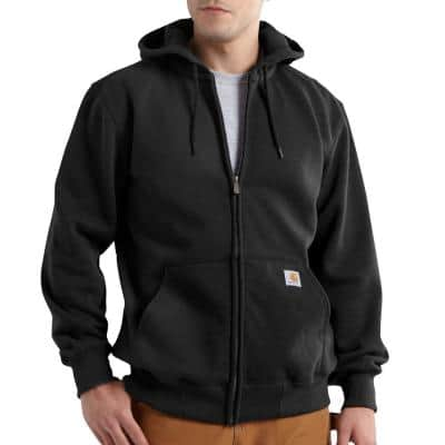Men's Tall Extra Large Black Cotton/Polyester Rain Defender Paxton Heavyweight Hooded Zip-Front Sweatshirt