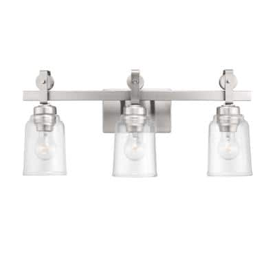 Knollwood 3-Light Brushed Nickel Vanity Light with Clear Glass Shades