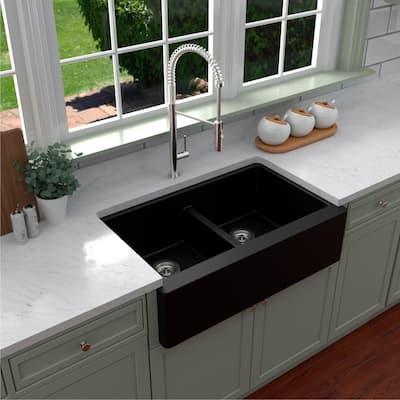 Farmhouse Apron Front Quartz Composite 34 in. Double Bowl Kitchen Sink in Black