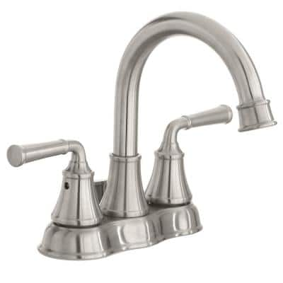 Dunston 4 in. Centerset 2-Handle High-Arc Bathroom Faucet in Brushed Nickel
