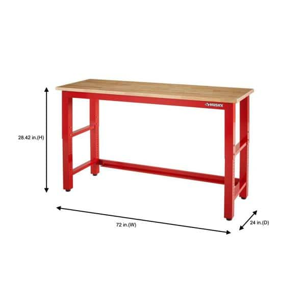 Husky Ready To Assemble 6 Ft Adjustable Height Solid Wood Top Workbench In Red Howt72xdb22 The Home Depot