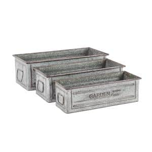Gray Galvanized Iron Rectangular Planters (Set of 3)