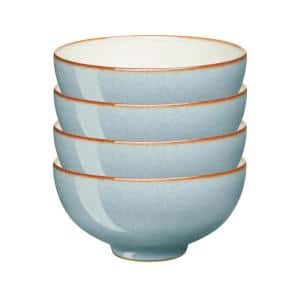 Heritage Terrace Stoneware 16.23 fl. oz. Light Blue Rice Serving Bowls (Set of 4)