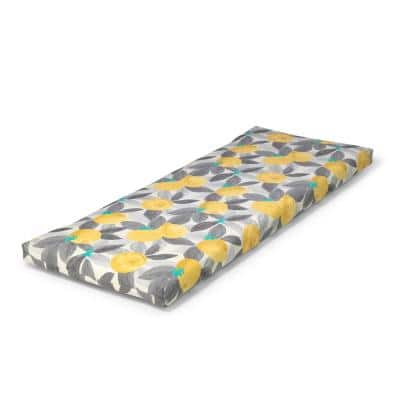 46.5 in. x 17.5 in. x 3 in. Stone Gray Lemons Outdoor Bench Cushion