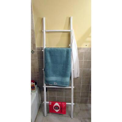 21 in. W x 72 in. H 5-Shelf Bamboo Ladder Towel Rack in White