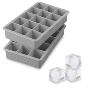 Perfect Cube Silicone Ice Mold Freezer Tray 1.25 Cubes for Whiskey, Bourbon, Spirits & Liquor, 2-Piece Set, Oyster Gray
