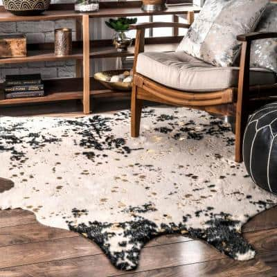 Alferce Faux Cowhide Off-White/Black 6 ft. x 8 ft. Shaped Accent Rug