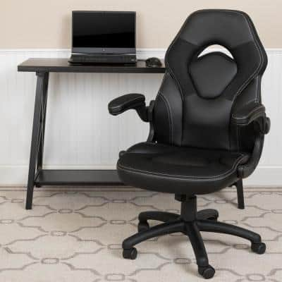 Black LeatherSoft Upholstery Racing Game Chair