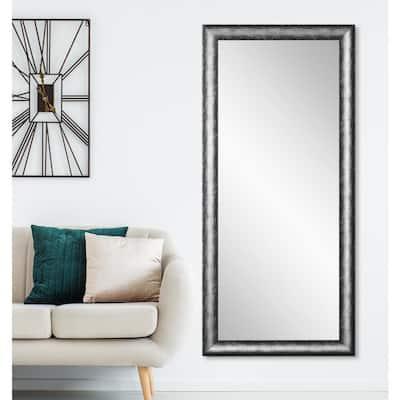 Oversized Silver/Black Industrial Modern Mirror (72 in. H X 33 in. W)
