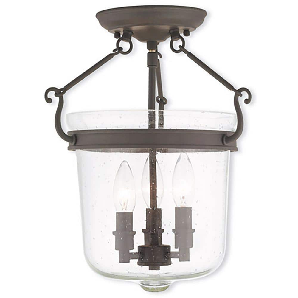 Livex Lighting Winchester 3 Light Bronze Semi Flush Mount 50493 07 The Home Depot