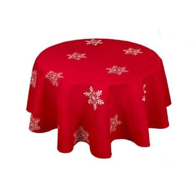 70 in. Snowy Noel Embroidered Snowflake Christmas Round Tablecloth in Red and White