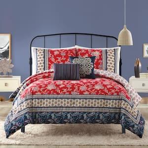 Marbella 5-Piece Red King Comforter Set