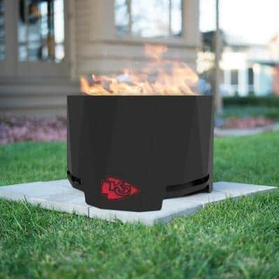 The Peak NFL 24 in. x 16 in. Round Steel Wood Patio Fire Pit - Kansas City Chiefs