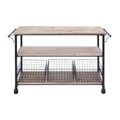 Black and Brown 3-Tier Rolling Cart with Drawers 48 in. x 17 in. x 32 in.
