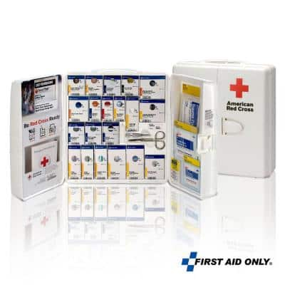 Smart Compliance Red Cross branded, Plastic Cabinet without Medications, OSHA 50-Person, First Aid Kit (206-Piece)