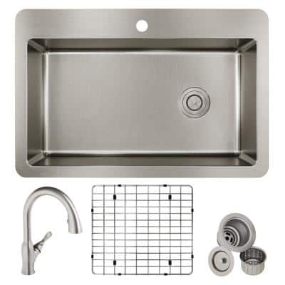 Avenue 18-Gauge Stainless Steel 33 in. Single Bowl Dual Mount Kitchen Sink with Faucet