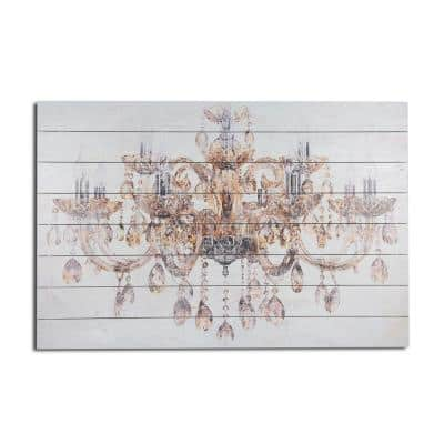 Vintage Chandelier Planked Wood Glamour Home Art Print 24 in. x 36 in.