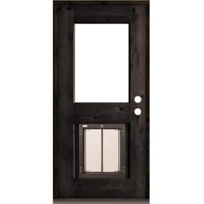 36 in. x 80 in. Left-Hand 1/2 Lite Clear Glass Black Stained Wood Prehung Door with Large Dog Door