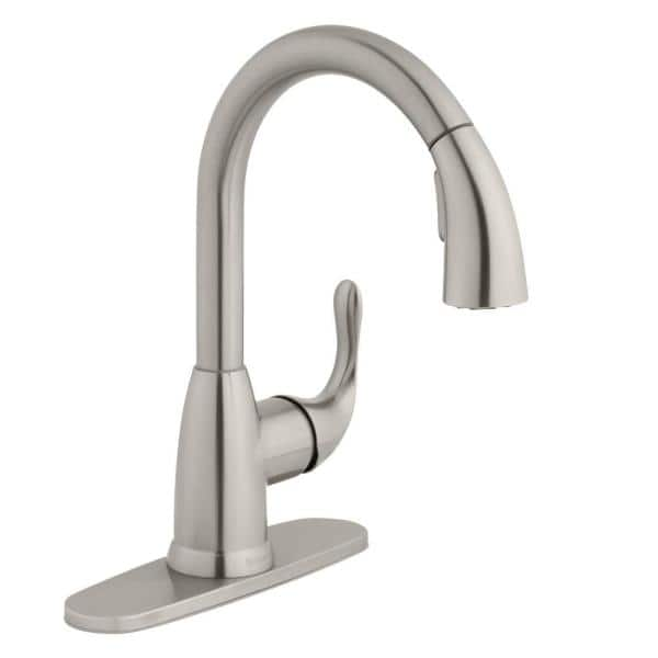 Glacier Bay Dylan Single Handle Pull Down Kitchen Faucet With Turbospray And Fastmount In Stainless Steel Hd67496 1008d2 The Home Depot