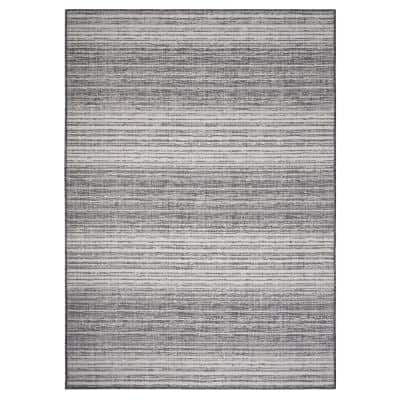 Kilimanjaro Gray/White 7 ft. 6 in. x 9 ft. 5 in. Distressed Striped Geometric Polypropylene Indoor/Outdoor Area Rug