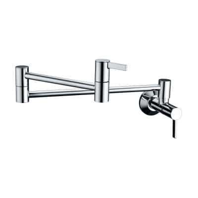 Contemporary 2-Handle Wall-Mounted Pot Filler in Chrome