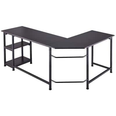 66 in. L Shape Ebony Writing Desk Computer Table with Storage Shelves
