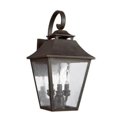 Galena 3-Light Sable Outdoor Wall Mount Lantern with Clear Seeded Glass