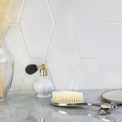 Birmingham Hexagon Bianco 4 in. x 8 in. 8mm Polished Ceramic Subway Tile (5.38 sq. ft. / box)
