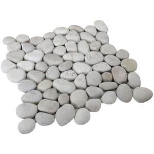 12 in. x 12 in. White Natural Pebble Floor and Wall Tile (5.0 sq. ft. / case)