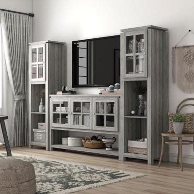 Tymon 59 in. 3-Piece Gray Entertainment Center with 10-Shelves Fits TVs Up to 66 in. with Cabinets