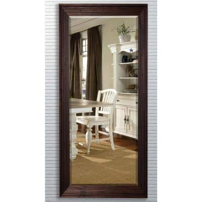 Oversized Brown Wood Cottage Farmhouse Rustic Mirror (71.25 in. H X 30.75 in. W)