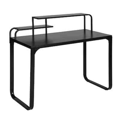 44 in. Rectangular Black Computer Desk with Shelves